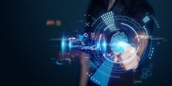 The man gains access to the personal information of the holograms with fingerprint identification. Modern technologies, cloud data storage