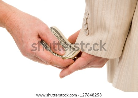 the man gently takes a bribe isolated on white background
