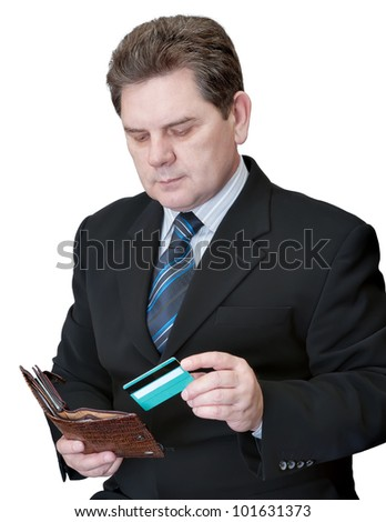 The man getting from a purse a credit card on a white background