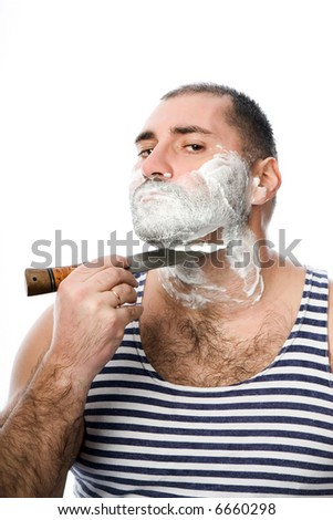 The man has a shave with a knife. On a white background.