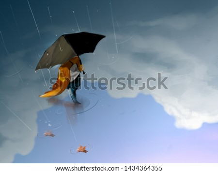 The man holding the umbrella in the rain Digital Painting