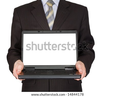 The man holds in hands laptop