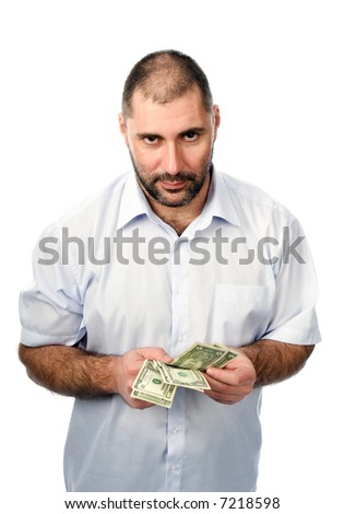 The man holds money in hands.