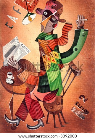 The man in a hat drinks coffee and reads the newspaper. Illustration by Eugene Ivanov.