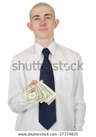 The man in a white shirt with money in a hand