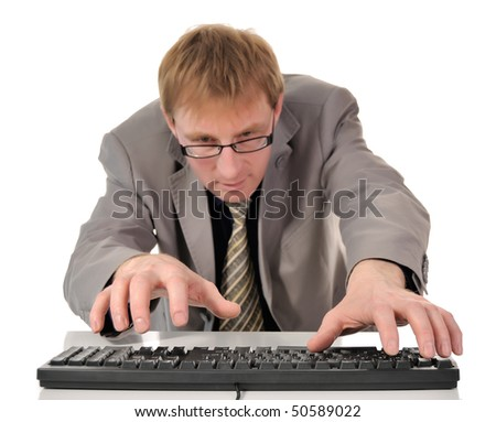 The man in glasses and keyboard PC. isolated on white