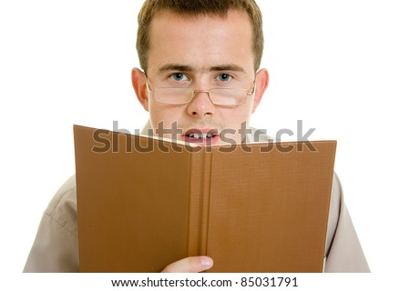 The man in glasses with a book.