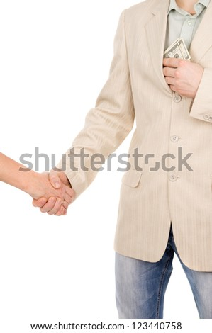 the man in suit agreed about the bribe and puts it in his pocket money isolated on white background