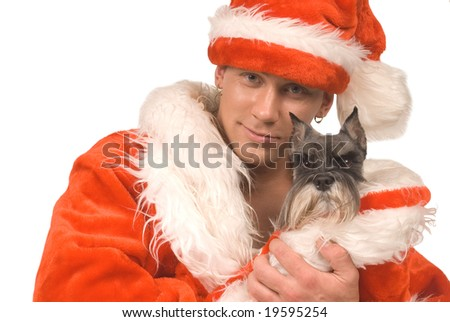 The man in suit Santa Claus with a dog on white background