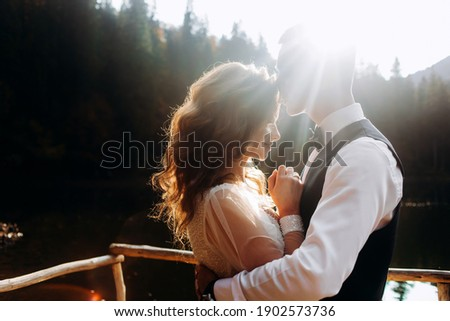 The man kisses the bride on the forehead in the sun Stock photo ©