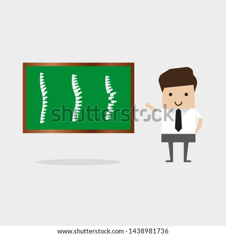The man points to three spines on the screen.  Illustration Man Doctor Studying Problems Spine Patient. Doctor Uses Virtual Reality Glasses Detailed Diagnosis Projection Spine