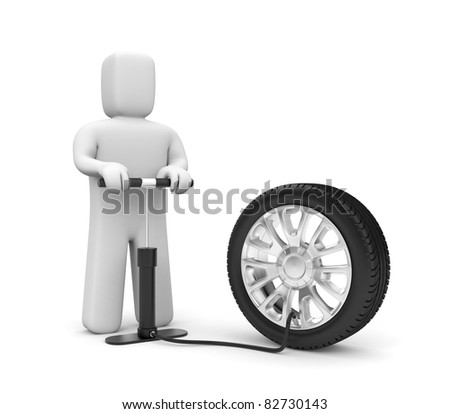 The man pump wheel - stock photo
