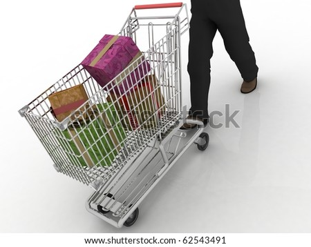 The man rolls the store cart with gifts