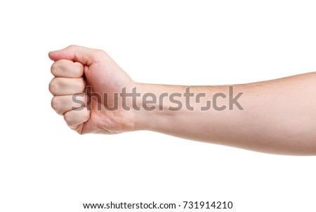 The man's hand bent his fingers into a fist #731914210