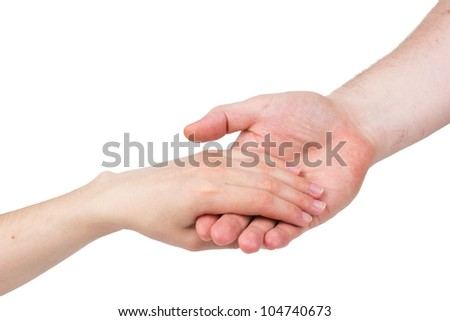 The man's hand carefully holds female isolated on a white background