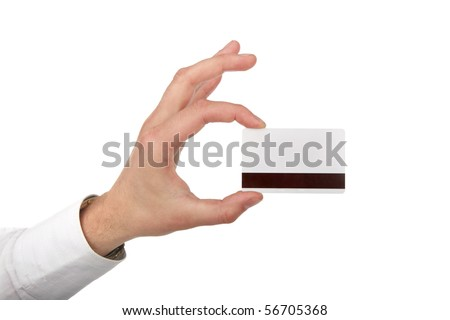 The man's hand holds a card is isolated on white a background
