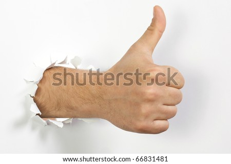 The man's hand is isolated on a white background