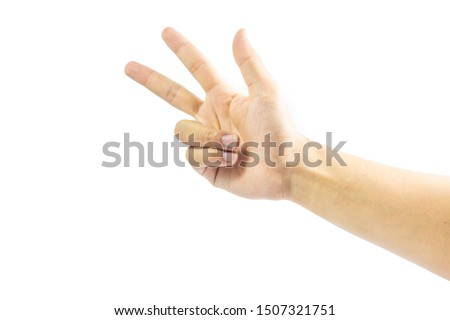The man's hand is raised with the thumb, index finger and middle finger, symbolizing the number three on a white background.