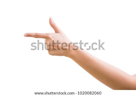 The man's hand isolated on white background