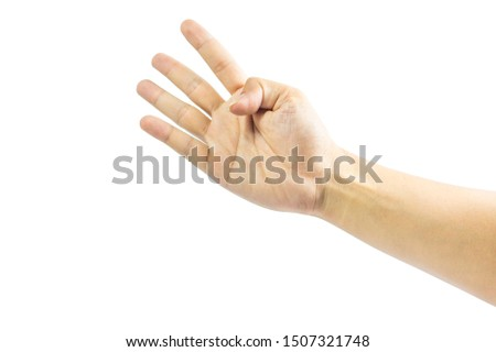 The man's hand raised his index finger, middle finger, ring finger, and little finger as a four digit symbol on a white background.