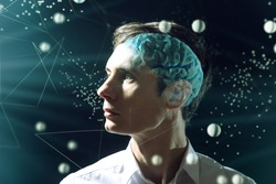 The man's head businessman with digital brain and the grid connections of neurons. The concept of artificial intelligence and the limitless possibilities of the mind