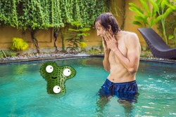 The man saw the bacteria in the pool and was horrified