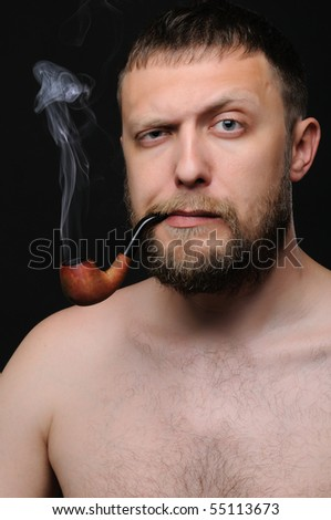 Summer Transfer Window 2013 Pt.III - Page 6 Stock-photo-the-man-smoke-the-pipe-on-black-background-55113673