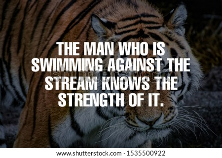 The man who is swimming against the stream knows the strength of