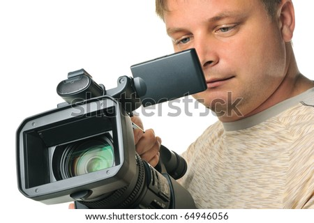 The man with a videocamera. It is isolated on a white background