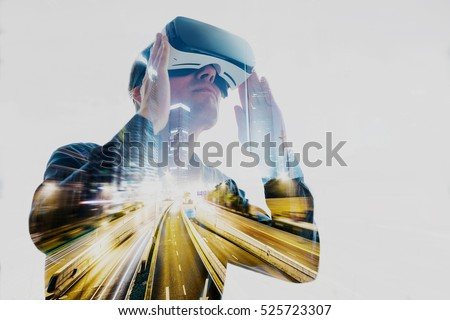 The man with glasses of virtual reality. Future technology concept. Сток-фото ©