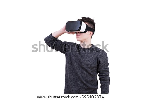 947647090f0e The man with glasses of virtual reality on white isolated background. Young  guy in VR