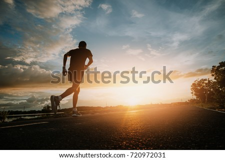 The man with runner on the street be running for exercise.Run for health concept. #720972031