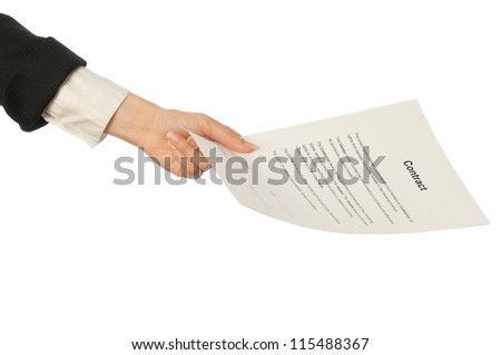 The managing director giving her partner a contract for signing
