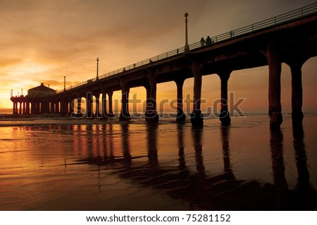 The Manhattan Beach Pier, Los Angeles under a warm California sun.