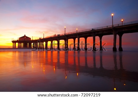 The Manhattan Beach Pier under a beautiful sunset - Los Angeles, California.