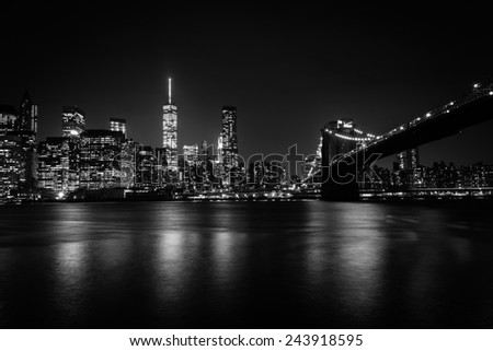The Manhattan skyline and Brooklyn Bridge at night seen from Brooklyn Bridge Park in Brooklyn, New York.