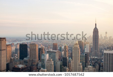 The Manhattan skyline seen from a New York City skyscraper. #1057687562