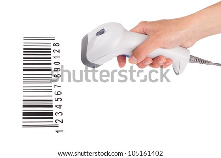 The manual scanner of bar code in a female hand with the bar-code isolated on a white background