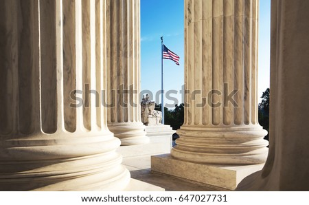 The marble columns of the Supreme Court of the United States in Washington DC #647027731