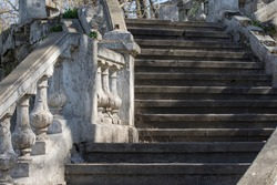 The marble staircase of the old castle. Objects of architecture need reconstruction.
