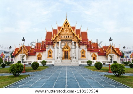 The Marble Temple (Wat Benchamabophit)  Bangkok, Thailand. it is one of Bangkok's most beautiful temple and a major tourist attraction ,open to the public to watch and allowed to take photos.