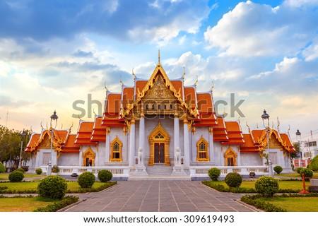 The Marble Temple, Wat Benchamabopit Dusitvanaram in Bangkok, Thailand   #309619493
