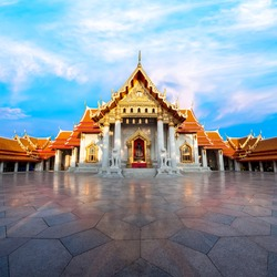 The Marble Temple with reflection under the blue sky, Wat Benchamabopitr Dusitvanaram (Bangkok, Thailand)