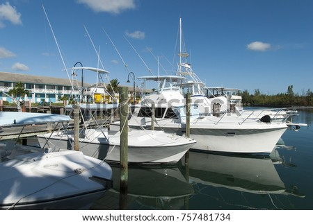 The marina in Port Lucaya, the resort district in Freeport town on Grand Bahama Island. #757481734
