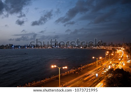 The Marine Drive at Mumbai at night. India