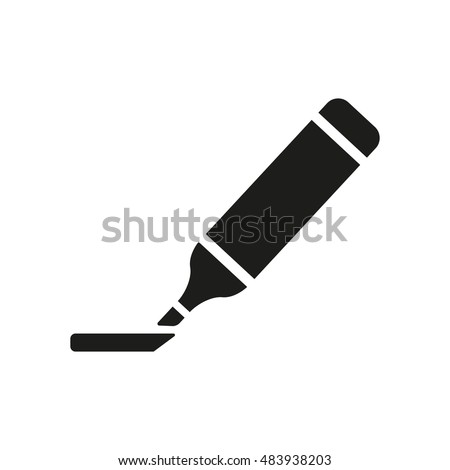 The marker icon. Highlighter symbol. Flat  illustration