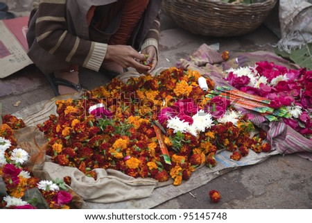 The market of the flowers in India - stock photo