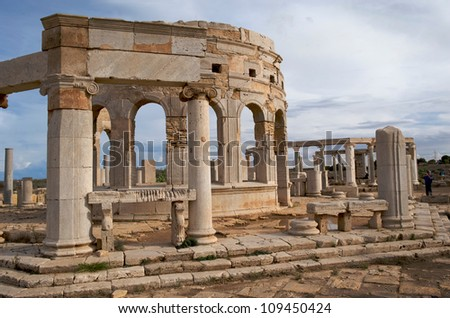 The marketplace at the spectacular ruins of Leptis Magna near Al Khums, Libya