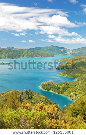 The Marlborough Sounds - extensive network of sea-drowned valleys created by a combination of land subsidence and rising sea levels at the north of the South Island of New Zealand.