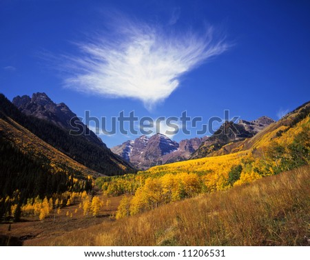 The Maroon Bells in the White River National Forest, Colorado.